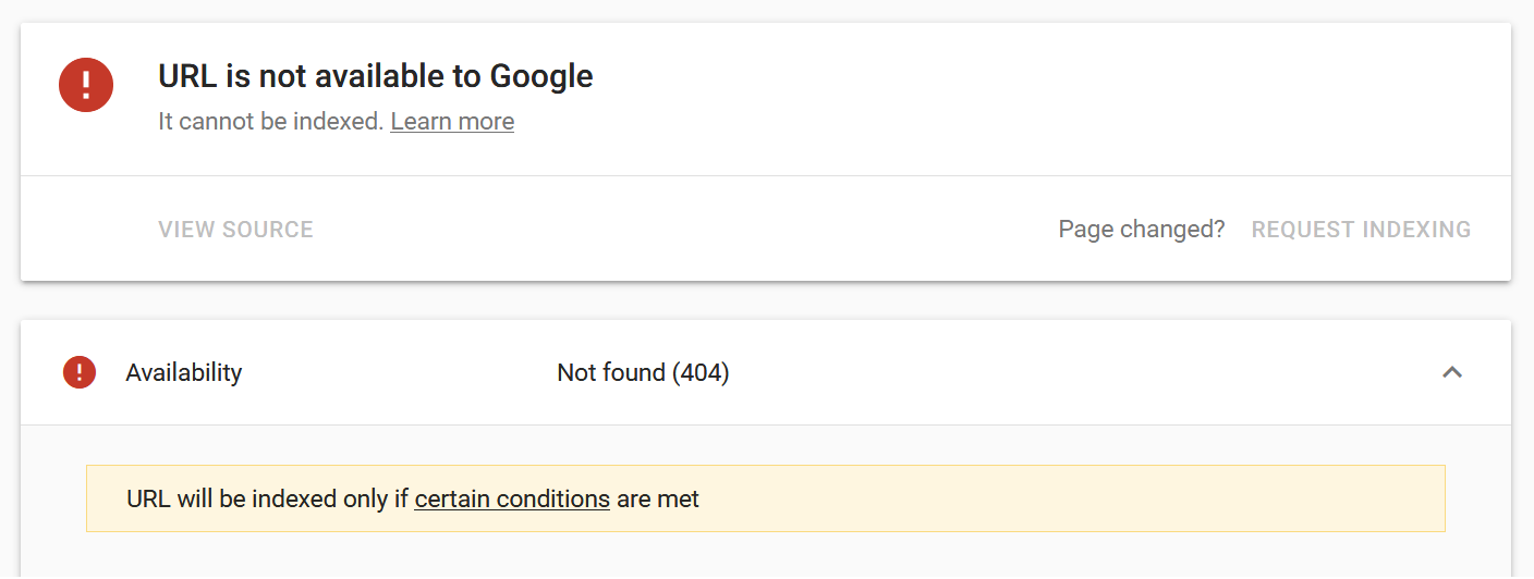 Google search console URL not found screen