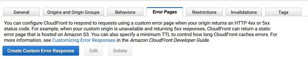 CloudFront error pages tab